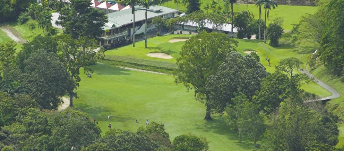 aerial veiw of Driving range and 18th